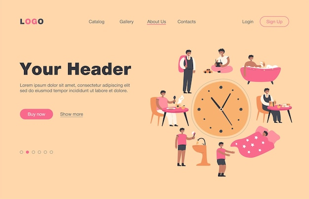 School kids daily schedule according to clock. boy sleeping, taking bath, having breakfast or dinner, walking to school.  landing page for daily routine, everyday life concept
