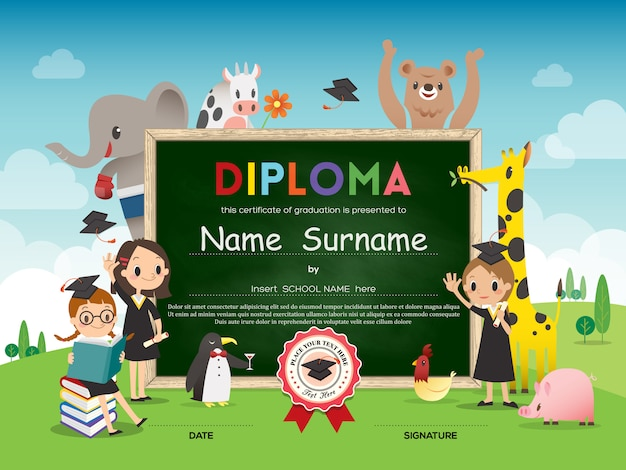 School kids diploma certificate template with animal cartoon