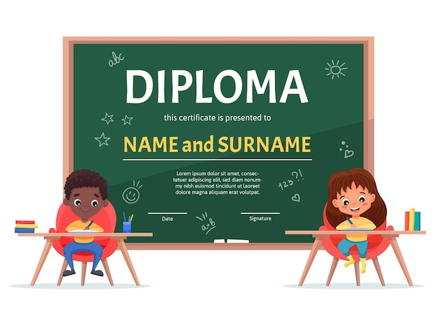 School kids diploma certificate template with a cute black boy and girl at the table on background with green chalkboard and handdrawn doodle school elements.  cartoon flat illustration