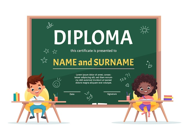 School kids diploma certificate template with a cute boy and black girl with curly hair at the table making homework on background with green chalkboard.  cartoon flat illustration