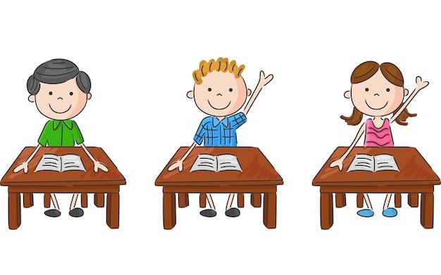 School kids sitting on table