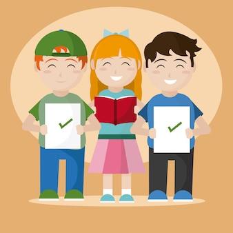 시험 만화를 통과 한 학교 어린이 학생