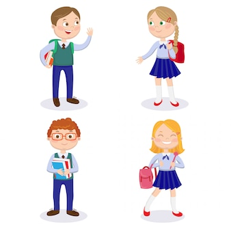 배낭과 책을 가진 학교 아이. 행복한 소년과 소녀는 학교에 간다
