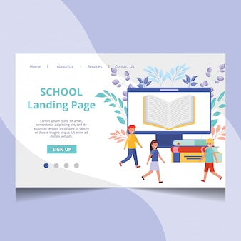School landing page vector with students