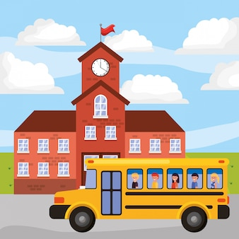 School landscape with bus