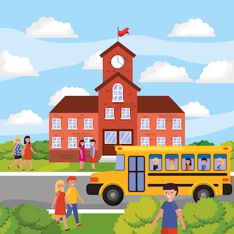 School landscape with yellow bus