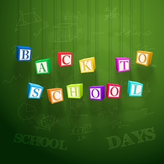 School learning poster with hanging colorful cubes with letters