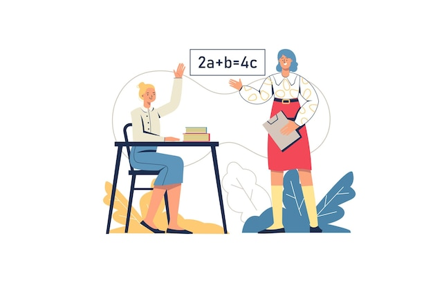 School learning web concept. schoolgirl answers in lesson, teacher teaches subject. student at exam. primary education, training, minimal people scene. vector illustration in flat design for website Premium Vector