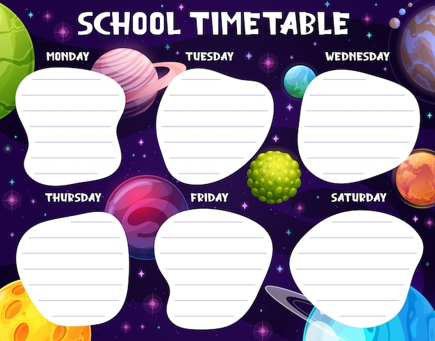 School lesson timetable with cartoon space planets and stars