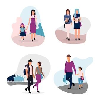 スクールライフフラットイラストセット。 10代およびプレティーンの学童。学校の仲間、学校のカップル、兄弟姉妹の漫画のキャラクターが白い背景で隔離。女子学生と男子生徒