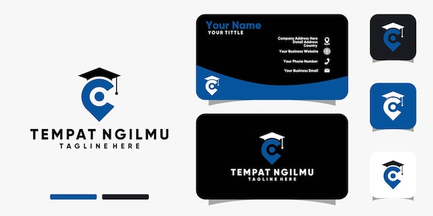 School location logo and business card design vector template