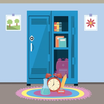 School locker and supplies