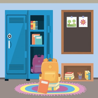 School locker and supplies