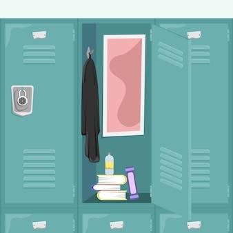 책과 사물과 함께 학교 사물함. 학교 복도. 만화 개념.
