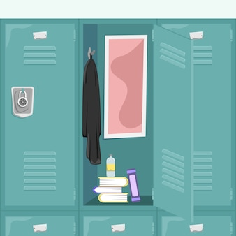 School locker with books and things. school corridor.  cartoon concept.