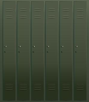 6 개의 문 벡터 일러스트와 함께 학교 사물함