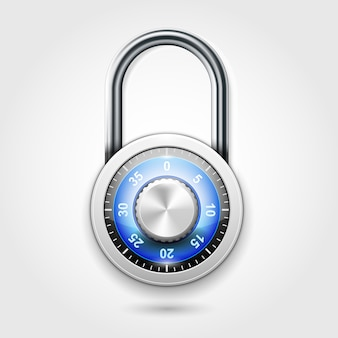 School lockers combination padlock - round lock icon with code