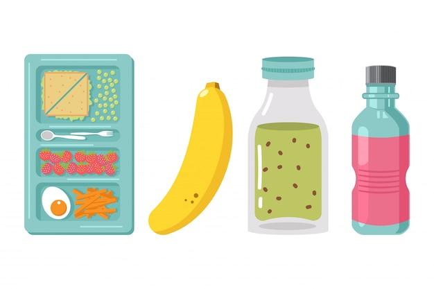 白い背景で隔離の学校給食ボックス要素漫画イラスト。子供のための健康食品。