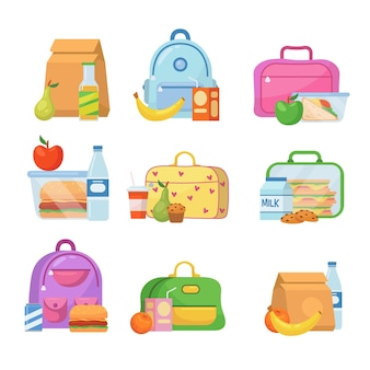 School lunch boxes for children illustrations set Free Vector