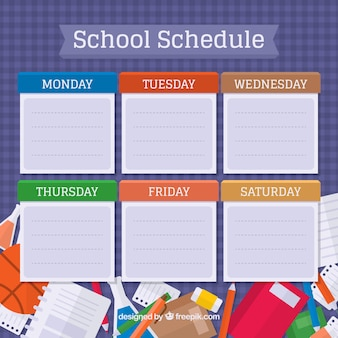 School materials and cool timetable