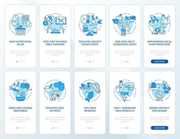コンセプトのある給食オンボーディング モバイル アプリ ページ画面
