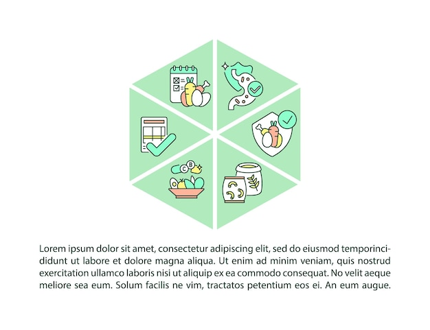 텍스트와 학교 식사 표준 개념 라인 아이콘