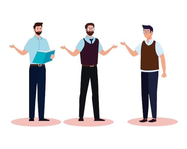 School men teachers cartoons design, education class lesson and knowledge theme