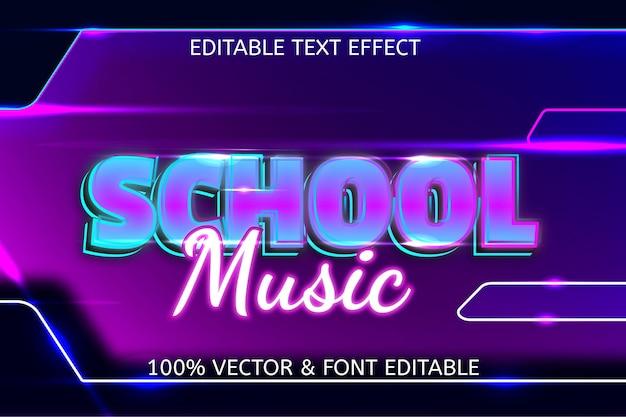Неоновый редактируемый текстовый эффект в стиле школьной музыки