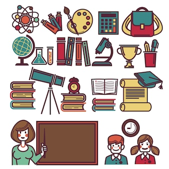 School objects poster with teacher and children