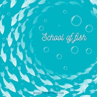평면 스타일에 깊은 바다와 물고기 배경 학교