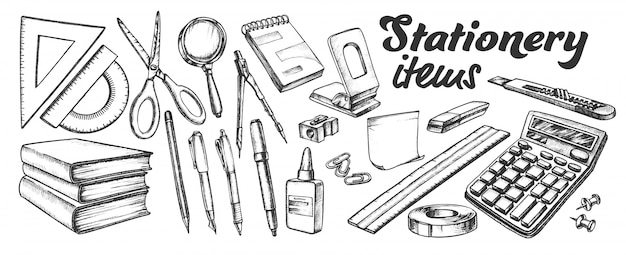 School and office stationery items ink set