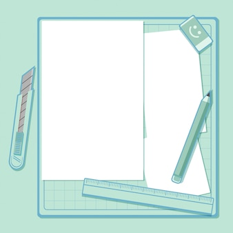 School or office supplies and blank notepad