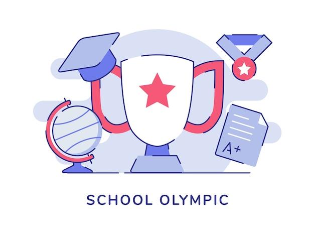 トロフィーと地球儀とフラットアウトラインスタイルのメダルと学校のオリンピックのコンセプト