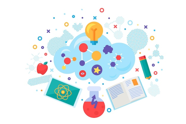 Школьный онлайн образовательный курс баннер вектор. дистанционное обучение, обучение через интернет и обучение. урок химии и физики, литературы и математики. учеба плоский мультфильм иллюстрации