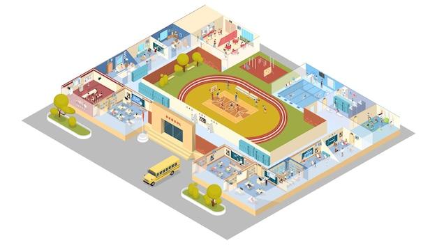 도서관, 체육관, 강의실 및 식당이있는 학교 또는 대학 인테리어. 교실에서 공부하는 아이들. 아이소 메트릭 그림