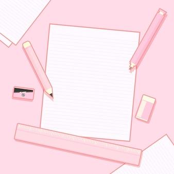 Школьные или офисные принадлежности и пустой блокнот