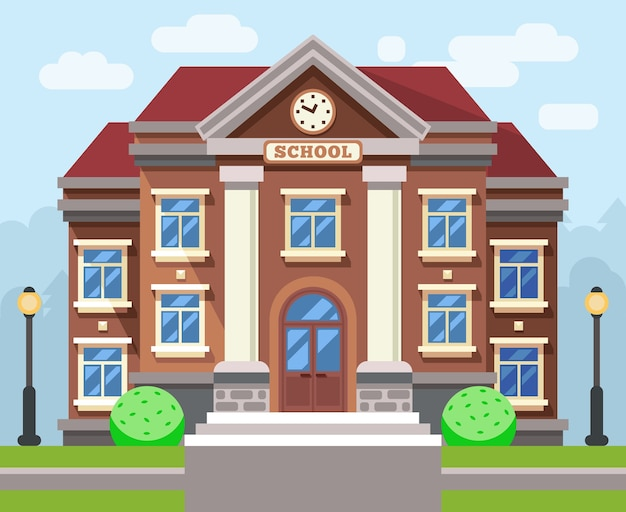 학교 또는 대학 건물. 벡터 평면 교육 개념입니다. 교육 학교, 건물 학교, 연구 학교 또는 대학 일러스트레이션