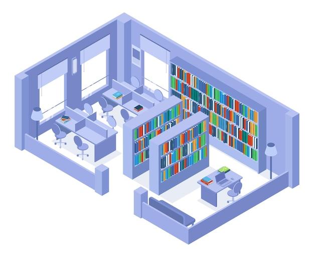 학교 또는 대학 아이소메트릭 도서관 책장과 책장 내부. 책과 책장 벡터 삽화가 있는 대학 도서관. 아이소메트릭 라이브러리