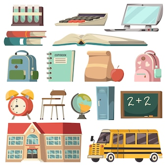 School orthogonal icon set