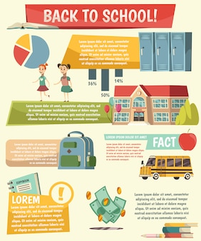 School orthogonal infographics