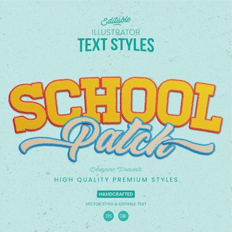 School patch text style