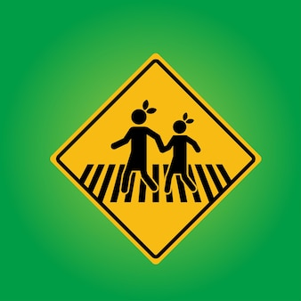School or pedestrian with child cross road sign board with metal pole