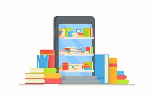 온라인 도서와 학교 전화. 책을 읽는 그림.