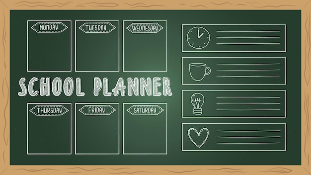School planner on board. doodle to do list, chalk drawing student week diary vector template. page blank calendar, student blackboard weekly organizer illustration