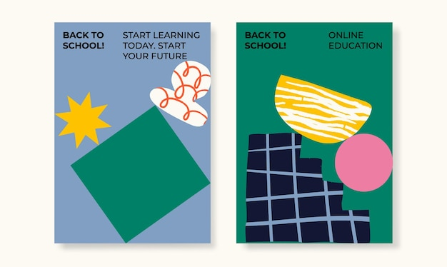 School posters abstract shapes set of flat vector illustrations back to school