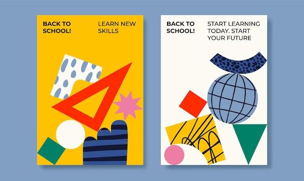 Школьные плакаты абстрактные формы набор плоских векторных иллюстраций снова в школу