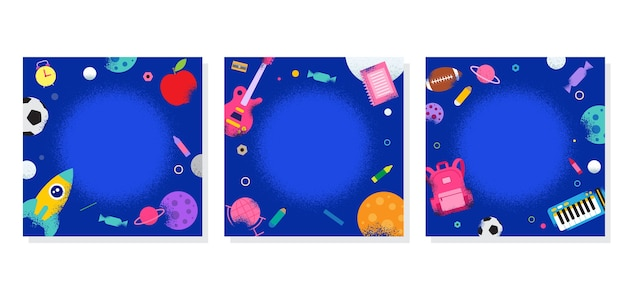 School profile frame, back to school, learning, space galaxy, illustration.