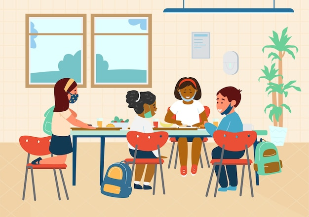School pupils in protective masks having lunch in school cafeteria. flat illustration.