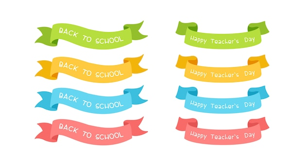 School ribbons with typography set.