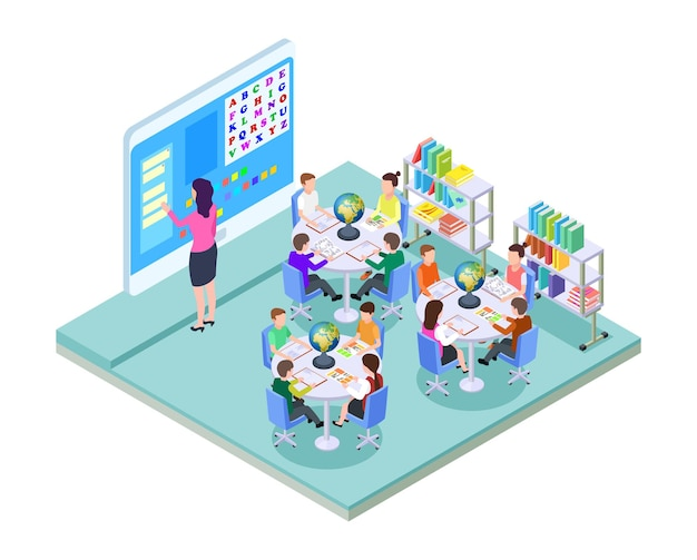 学校の部屋。小学校のクラスの場所。等尺性の教室のインテリア。若い学生と教師。現代のトレーニングベクトルの概念。学校のアイソメトリックルーム、教師のイラスト付きの教室